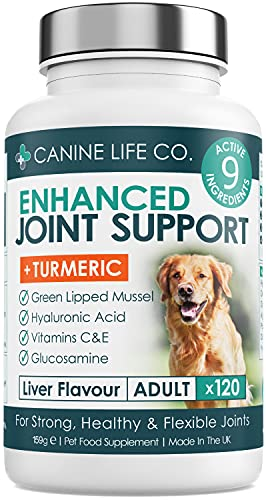 Enhanced Adult Dog Joint Supplements | Dog Anti Inflammatory | Joint Aid For Dogs | 120 Chewable Tablets | With Turmeric For Dogs, Glucosamine For Dogs & Green Lipped Mussel | Made In The UK