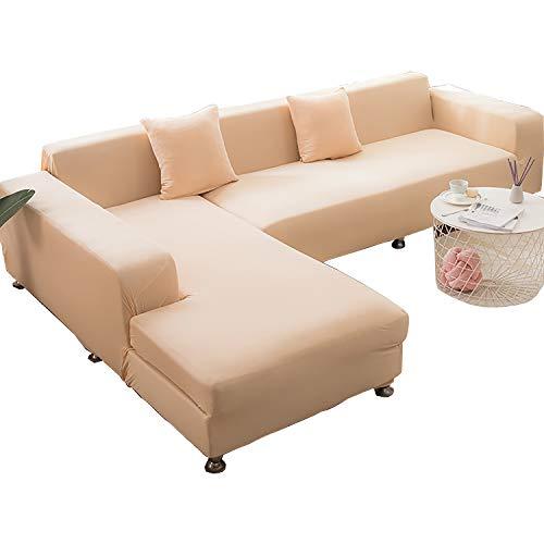 BHAHFL Fundas elásticas para sofá de 1 Pieza - Fundas para sofá con Estampado de poliéster y Spandex - Funda/Protector para Muebles para sofá con Base elástica y Espuma,Beige,4Seater