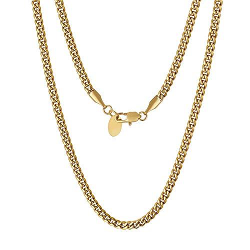 KRKC&CO 3mm Edelstahl Cuban Link Chain 18K Gold beschichtet Kubanische Gliederkette Edelstahl Panzerkette Herren Gold Goldkette Herren Gold Cuban Chain Hip Hip Halskette Rapper Kette Länge 55,9cm