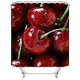Anyeda Badewannenvorhang, Duschvorhänge Polyester Wasserdicht Waschbarer Kirsche mit 12 Duschvorhangringen Duschvorhange 90x180 cm