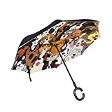 MRMIAN Cute Doodle Dog Print Animal Windproof Inverted Open Close Reverse Rain Umbrella Inside Out Quality Waterproof Parasol Upside Down Stick Shelter with Hook c Handle