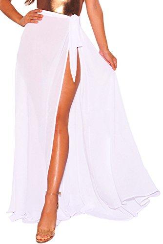 MAX MALL Damen Sommer Wickelrock Elegant Boho Transparenter Schlitz Lange Maxirock Strand Röcke (One Size, Weiß)