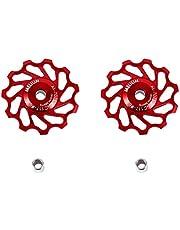 2 stuks keramische fietswielen, keramische pulley aluminiumlegering schakelsysteem geleidingsrol deel accessoires voor MTB-bikes (11T-rood)