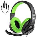 BlueFire Kids Headphones for Online School, Children, Teens, Boys, Girls, 3.5mm Stereo Over-Ear Gaming Headphone with Microphone and Volume Control Compatible with PS4, New Xbox One(Green)