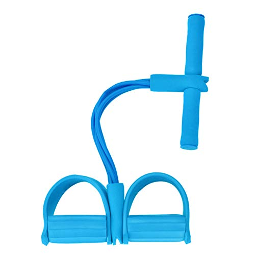 DUT Pedal Resistance Band, 4-Tube Elastic Sit Up Pull Rope Sit-Up Chest Fitness Beauty Leg, Portable Home Gym with Elastic Bodybuilding Fitness Slimming Training Exercise Bands (Blue)