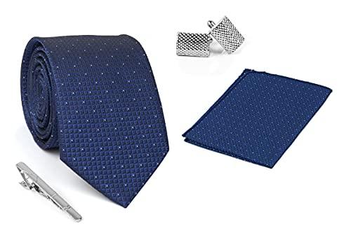 Aeht Men's Necktie, Pocket Square, Tie Pin and Cufflink Set 3 inch width, 58 inch length 1714 TTPC Blue