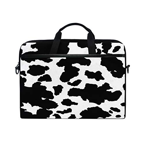HaJie Laptop Bag Geometrical Animal Skin Cow Print Computer Case 14-14.5 in Protective Bag Travel Briefcase with Shoulder Strap for Men Women Boy Girls