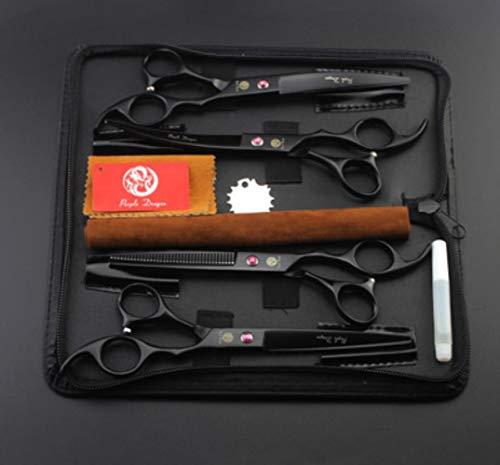 babyzhang 4pcs / Set Purple Dragon Tijeras para Mascotas de 7.0 Pulgadas para el Aseo del Perro Tijeras Rectas de Adelgazamiento Curvo Tijeras de Aseo