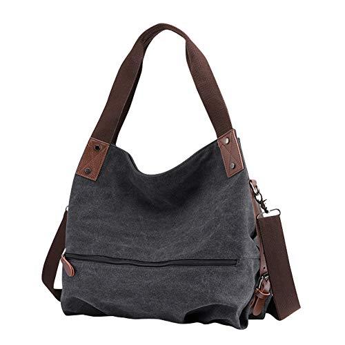 Gindoly Damen Canvas Handtasche Klein Vintage Shopper Schultertasche Henkeltasche Hobo Tasche Beuteltasche EINWEG(Schwarz)