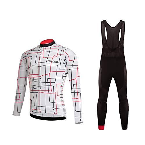 Uglyfrog Herren Fahrradbekleidung Langarm Radtrikot Set Outdoor Radsport Gemütlich Radkleidung Trikot Jersey + Lange Radlerhose im Winter