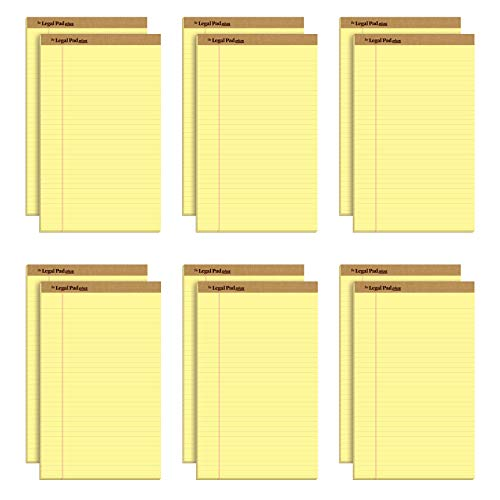 "TOPS The Legal Pad Plus Writing Pads, 8-1/2"" x 14"", Legal Rule, Canary Paper, 50 Sheets, 12 Pack (71572)"