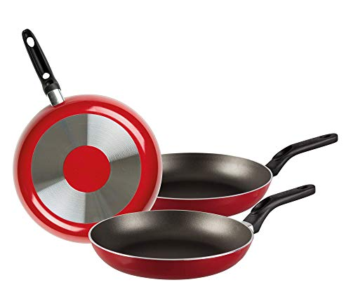 EKCO Juego de Sartenes, color Rojo, 20cm / 24cm / 30cm, 3 pack