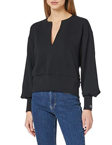 Scotch & Soda Maison Damen Weiches voluminösen Ärmeln Sweatshirt, 0008 Black, S