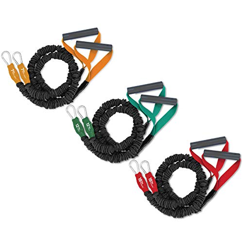 X-Over Resistance Bands - American Made Exercise Cords for Shoulder & Arm Care, Muscle Performance, Sports, & Rehab Workouts - Three Sets of 2-7, 12, 18 Pounds- by FitCord