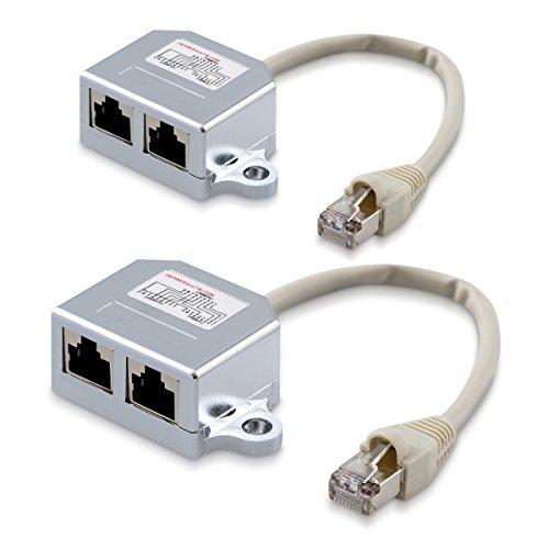 kwmobile 2X Netzwerkkabel Splitter Anschlussverdoppler - Netzwerk ISDN Adapter LAN Verteiler - T-Adapter - Netzwerk Kabel auf 1x ISDN 1x Ethernet