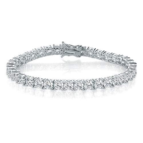 14K White Gold Plated Cubic Zirconia Classic Tennis Bracelet for Women Men 4mm Wedding jewelry