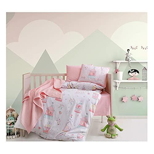Nurdanil Bird House - Juego de funda de edredón y funda de almohada para bebé, de algodón