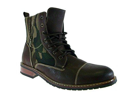Ferro Aldo Men's 808561A Camo Design Dress Casual Zippered Combat Boots, Brown, 7