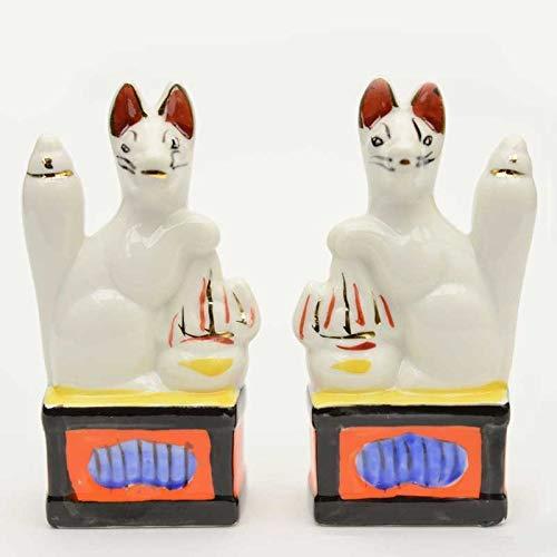 【ひるた仏具店】 神狐 キツネの置物 3.0寸 1対 神棚 神具用 (稲荷きつね)
