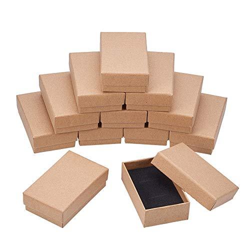 NBEADS Caja, 18 Unidades de 5 X 8 cm Rectangular de Cartón de Madera de Borrego con Caja...