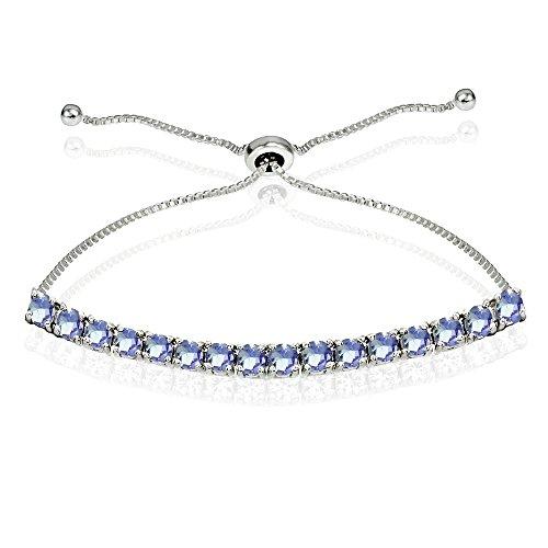 In argento sterling, con tanzanite regolabile pull-string braccialetto