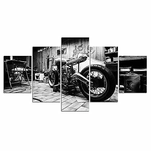 yuanjun Pegatinas De Pared 5 Unidades Lienzo Pintura Lienzo Cuadro Pintura Habitación Decoración Impresión Cartel Arte De La Pared Motocicleta