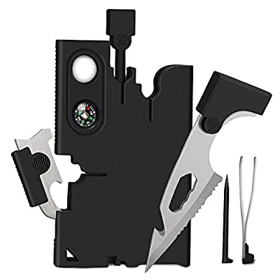 Upgraded Credit Card Tool Multitool - Gifts for Men Multi-Tool 18 in 1 Tactical Multi-Tool - Gifts for Dad, Mens Stocking Stuffers Survival Wallet With Blade, Compass and Fire Starter