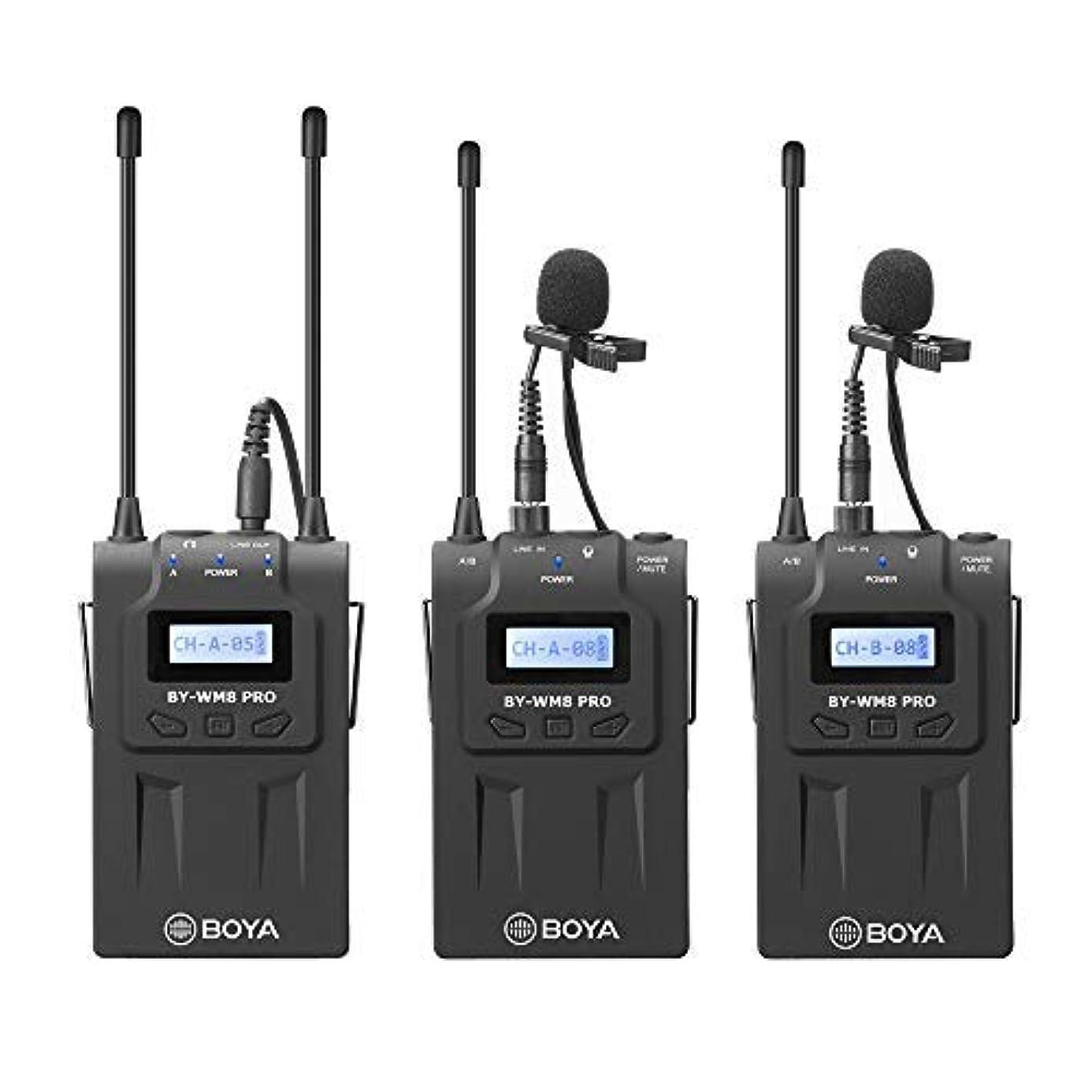 BOYA BY-WM8 PRO K2 UHF Wireless Microphone System 2 Transmitter 1 Receiver Sound Transducer for DSLR Camera Canon Nikon Panasonic Sony ENG Broadcast Recording agf5706904