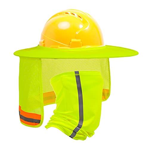 TCCFCCT Hard Hat Sun Shade, Full Brim Mesh Neck Sun Shield, High Visibility Sun Visor Neck Protection and Bandana Headband Face Scarf, Hard Hat Accessories, Hard Hat Not Included, 2 Packs, Yellow