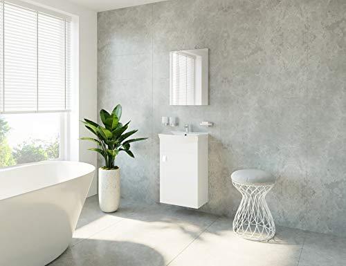 Waschtisch + Spiegel Badmöbel Set für Gäste Bad WC (Weiß)