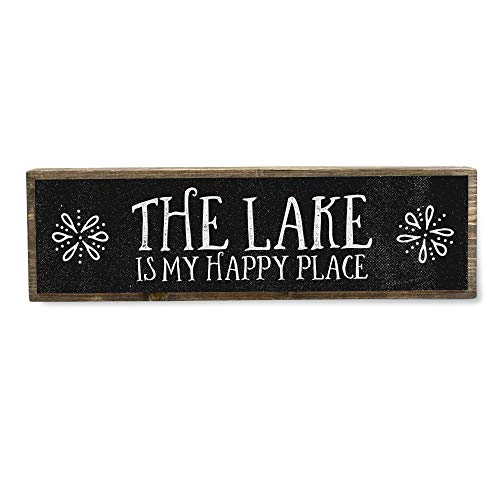 ANVEVO The Lake is My Happy Place - Handmade Metal Wood Lake House Welcome Sign – Lake Home Decor Art - Farmhouse Decorations – Lake House Decorations for Home