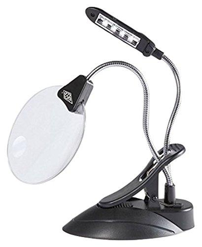 Wedo 27175201 Tischlupe mit LED Lampe, Kunststoff Linse Ø 10,2 cm, 2 fach / 4 fach Vergrößerung, 4x Licht, flexibler Hals, Klemme, schwarz