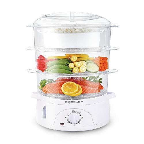 Aigostar Fitfoodie 30CFO - Cuiseur vapeur électrique 0% BPA. Puissance de 800W, minuterie, 3 niveaux indépendants de cuisson. Cuisine saine. Design exclusif.