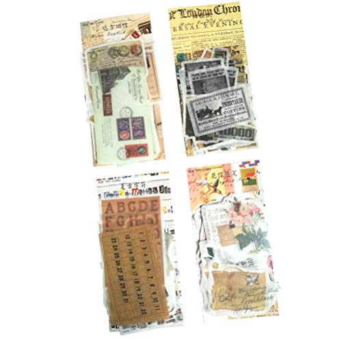 Washi Sticker Set (4 Pack,240 Pieces) Vintage Stationery Sticker Postmark Stamp Newspaper Flower Letter DIY Decorative Label for Scrapbooking Album Art Project Card Planner Journal Craft