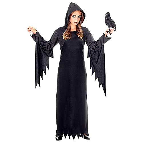 Widmann - Kinderkostüm Dunkle Königin, Kleid mit Kapuze, Hexe, Fasching, Karneval, Mottoparty