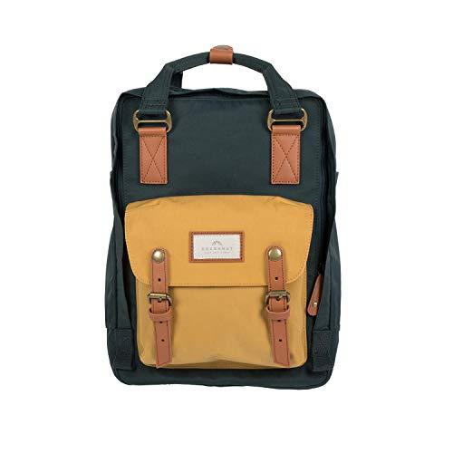 Doughnut Macaroon Multicolor 16L Travel School Ladies College Girls Lightweight Commuter Casual Daypacks Bag Backpack (Slate Green x Yellow)