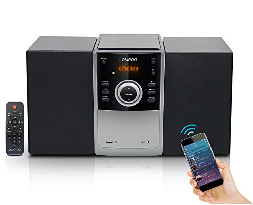 Home Audio e Sistema Micro Hi-Fi 30W, Stereo Compatto, Mini Impianto Stereo Sistema Bluetooth, Lettore CD MP3, Radio FM, Ingresso USB/AUX, Telecomando