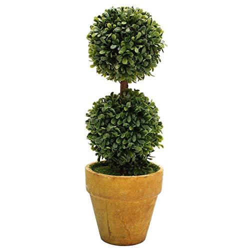 Zeagro Árboles artificiales de plástico en macetas, decoración de jardín, patio, interior y exterior. Patrón: dos bolas.