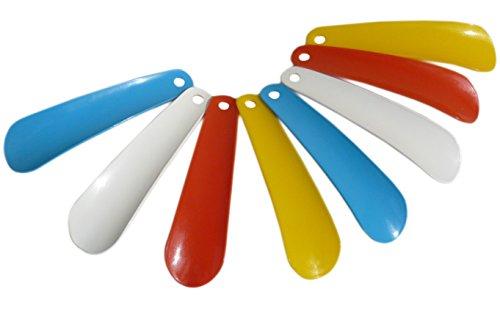 8 Stück Plastik - Schuhlöffel bunt mit Aufhängeloch 14cm (50cent/stk.)