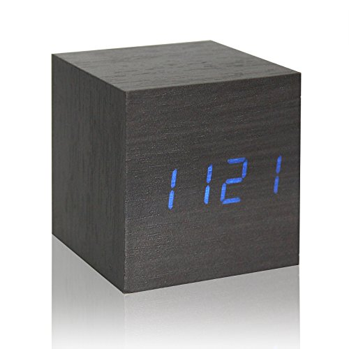Horloge Cube en Bois Alarme LED Horloge bureautique numérique Réglage Vocal Thermomètre Calendrier temporisateur (Noir (LED Bleu))