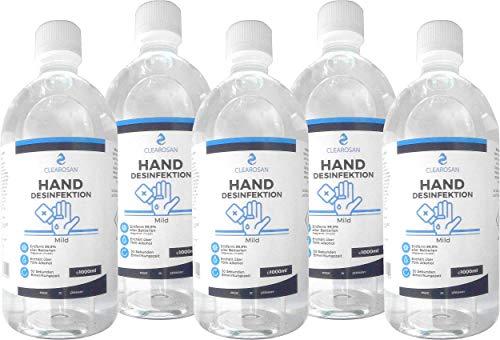5x Clearosan Hand Desinfektionsmittel 1000ml Flasche entfernt 99,9% >70% Alkohol Händedesinfektionsmittel Made in Germany
