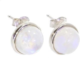 Mini Argent Clous d/'oreilles ronds blanc avec imitation opale pour filles bijoux cadeau