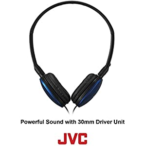 JVC Black Flat and Foldable Colorful Flats On Ear Headphone with 3.94 foot Gold Plated Phone Slim Plug HAS160B