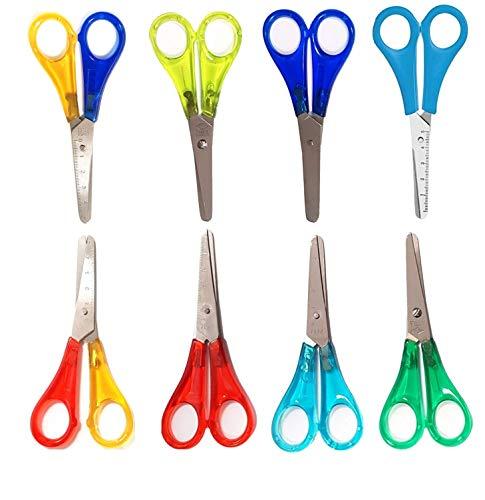 Set 10 farbige Bastelschere Schere für Kinder rund 13 cm, aus rostfreiem Stahl, für Rechtshänger und Linkshänder
