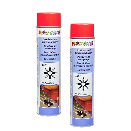 2X DUPLI-Color STRAßENMARKIERER ROT LINIENMARKIERUNG PARKPLATZ Industrie 600 ML
