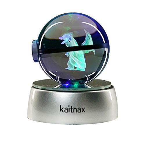 Kaitnax 3D Laser Etched Crystal Ball(50mm) Lamp with LED Base (Charizard 1)
