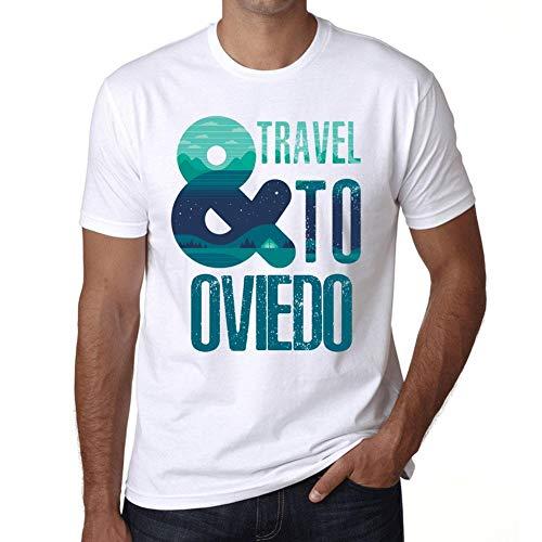 Hombre Camiseta Vintage T-Shirt Gráfico and Travel To Oviedo Blanco
