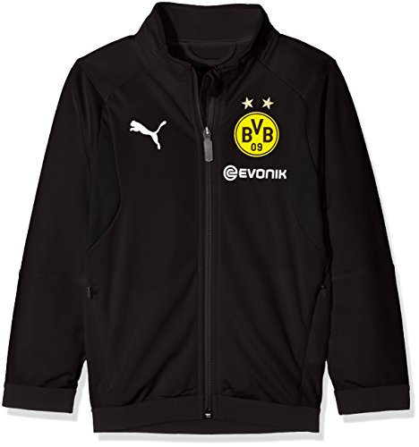 PUMA Kinder BVB Poly Jacket Jr Sponsor Logo with 2 Side Pockets wit Jacke, Black, 164