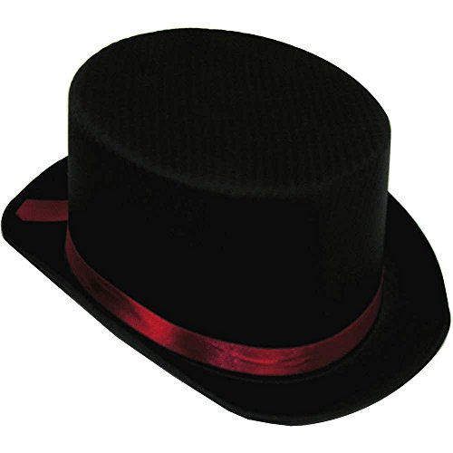 Black Satin Top Hat, Black / Red