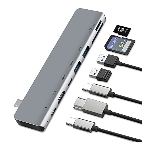 7in1 USB C Hub, HDMI 4K, SD/TF Card Reader, 3 USB 3.0, 87W PD Power Delivery, for iPad Pro, MacBook